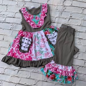 Boutique Girls Ruffle 4pc Outfit